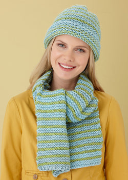 Striped Hat And Scarf Pattern (Knit)