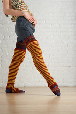 Striped Thigh Highs (Knit)