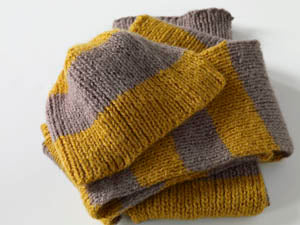 Stripes of Gold Beanie Hat and Scarf Pattern (Knit)