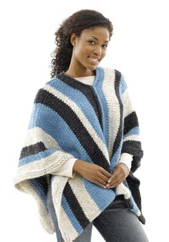 Vertical Striped Poncho Womans Version Pattern (Knit)
