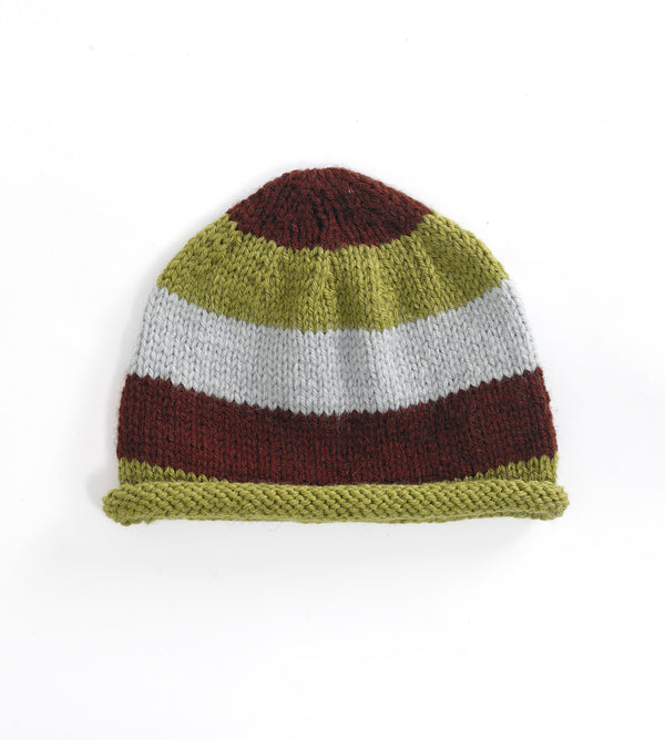 Wide Striped Cap Pattern (Knit)