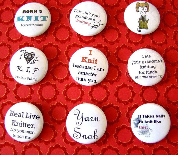 Knitting Pinback Buttons (9 Pack)
