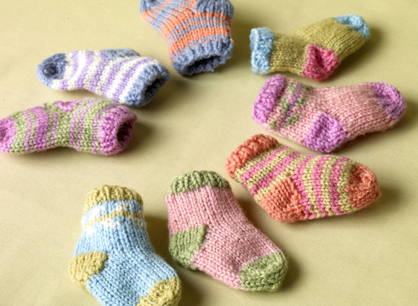 Bright Baby Sock Booties (Knit)