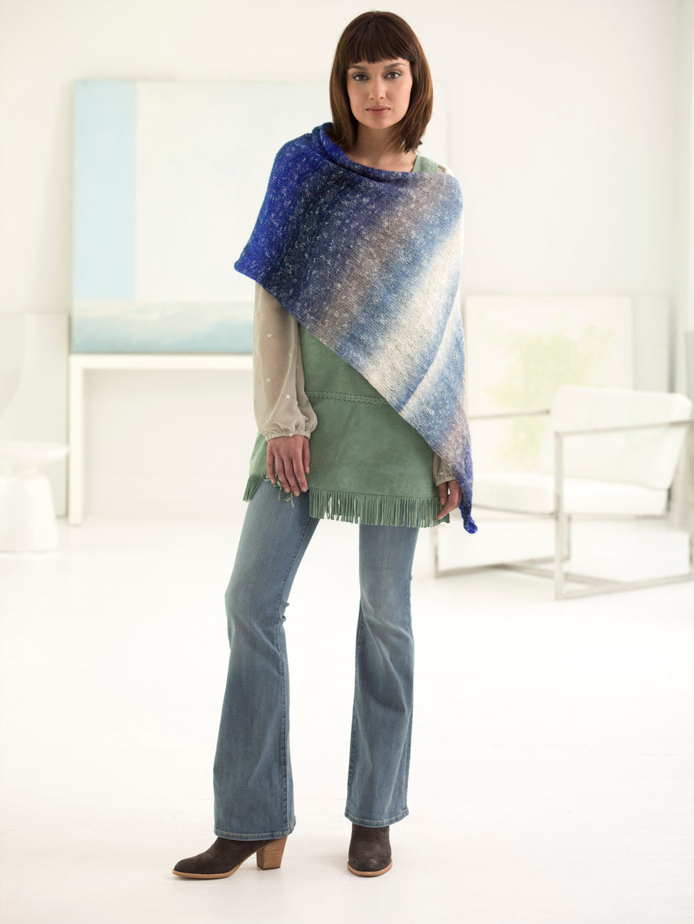 2 ball knitted poncho pattern from Lion Brand, uses Shawl in a Ball yarn