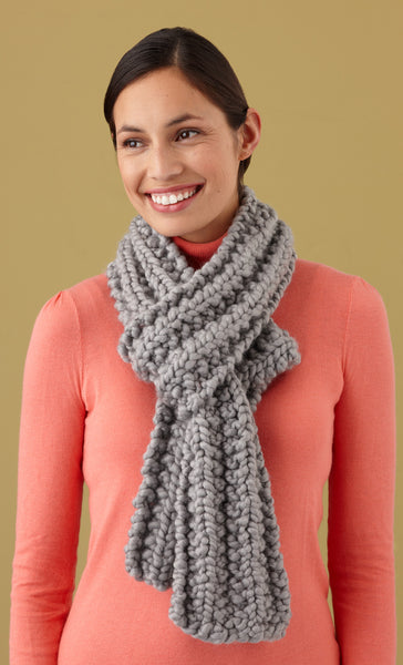 Loom Knit Mistake Rib Scarf - Lion Brand Yarn