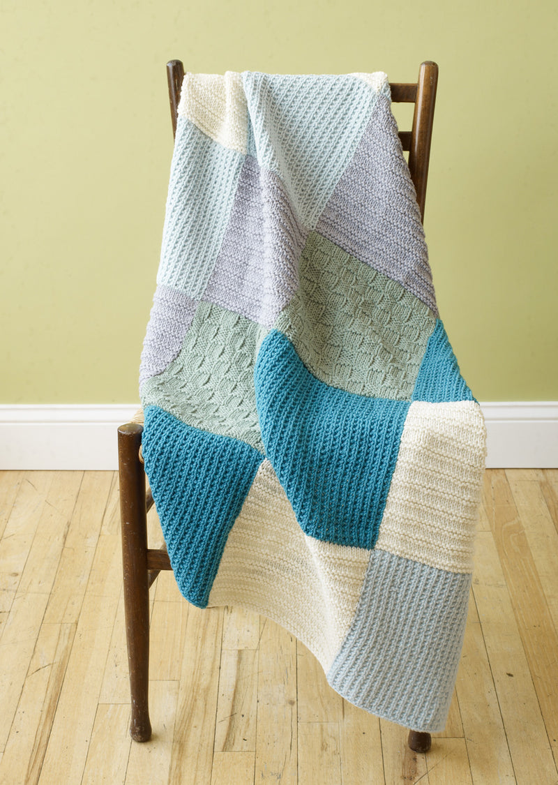 Loom Knit Patchwork Throw Pattern