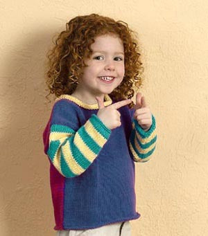 Machine Knit Child's Blocks and Stripes Pullover Sweater Pattern (Machine-Knit)