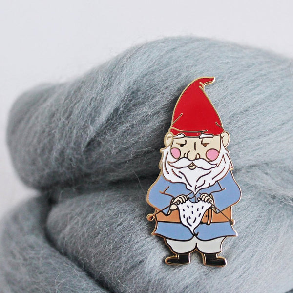 Knitting Gnome Enamel Pin