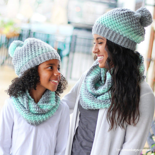 Crochet Kit - The Landon Mother and Daughter Slouch Hat and Scarf