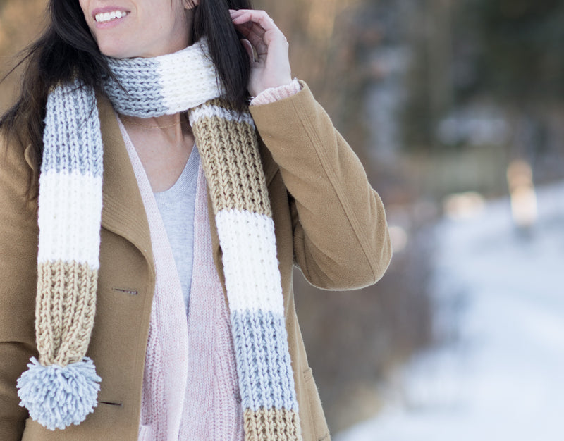 Knit Kit - Fairbanks Pommed Scarf