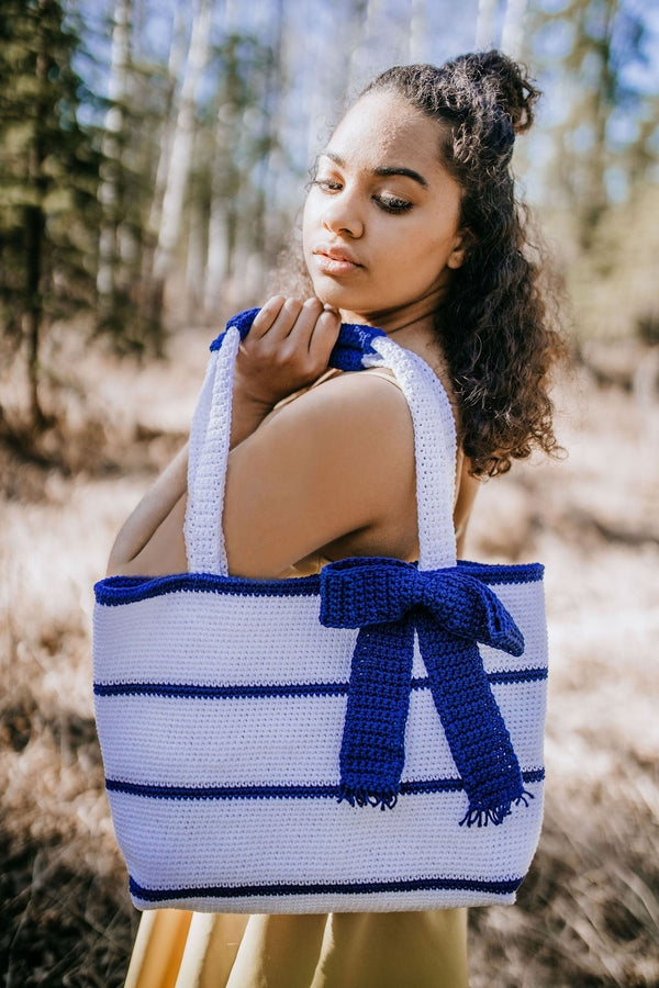 Crochet Kit - Simple Striped Tote Bag