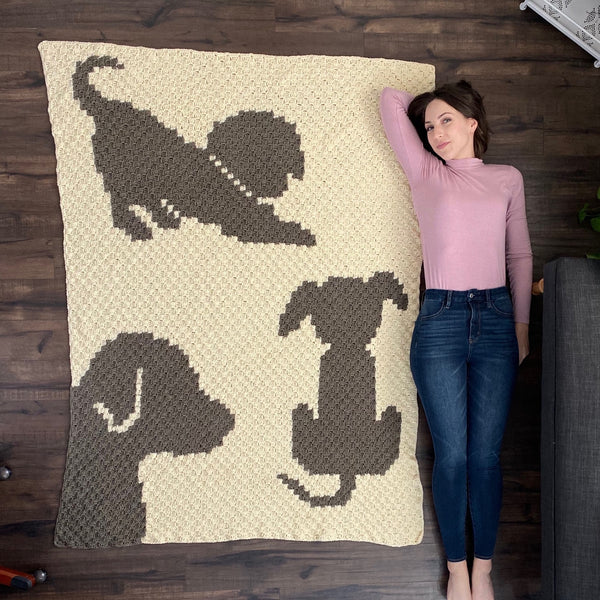 Crochet Kit - Draped in Dogs Afghan