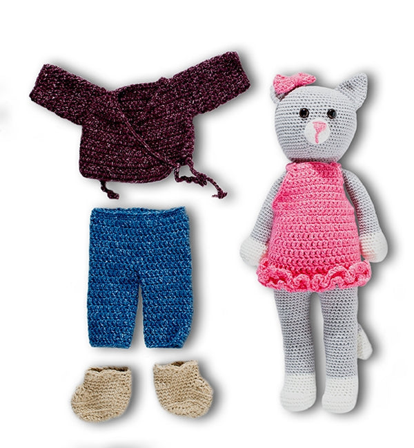 Crochet Kit - Roebling Cat Doll and Wardrobe