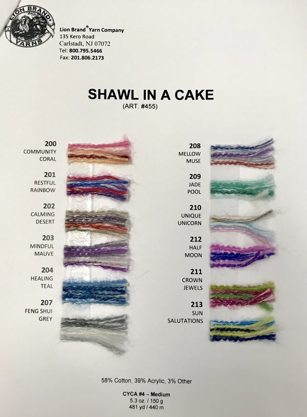 Shawl in a Cake: Color Card