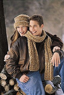 Ribbed Scarf and Brimmed Hat Pattern (Crochet)