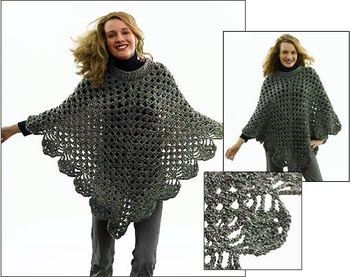 Martha Stewart Coming Home Poncho Plus Size Pattern (Crochet)
