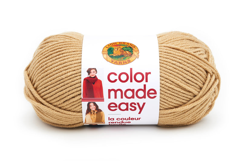 Pack of 3 Skeins Lion Brand Yarn 195-126 Color Made Easy Yarn Kombucha