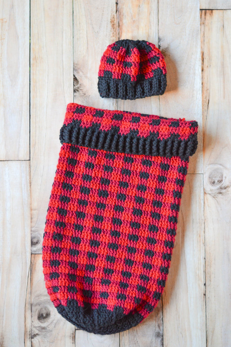 Crochet Kit - Plaid Cocoon Set