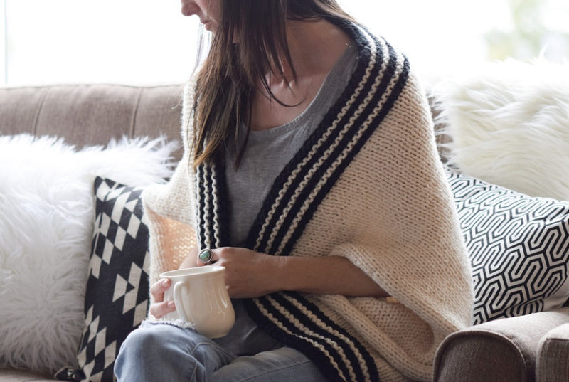 Classic Stripe Knit Blanket Sweater Kit