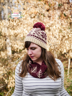Crochet Kit - Faux Fair Isle Snowflake Toque & Cowl