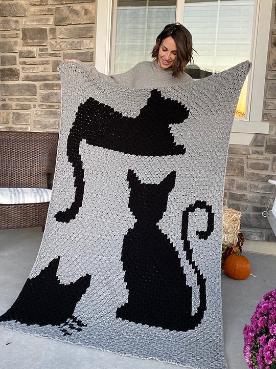 Crochet Kit - Covered In Cats Afghan