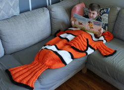 Knit Kit - Orange Fish Blanket