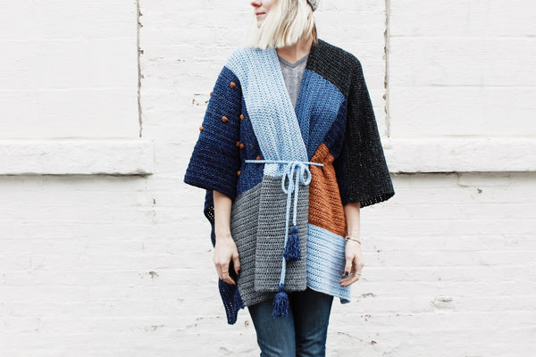 Crochet Kit - Shades of Indigo Poncho