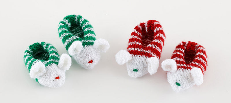 Holiday Mousie Slippers Pattern (Knit)