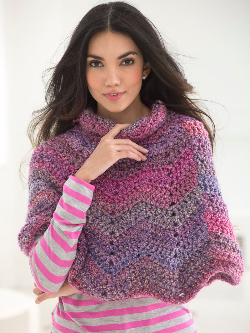 Softly Rippled Poncho (Crochet)