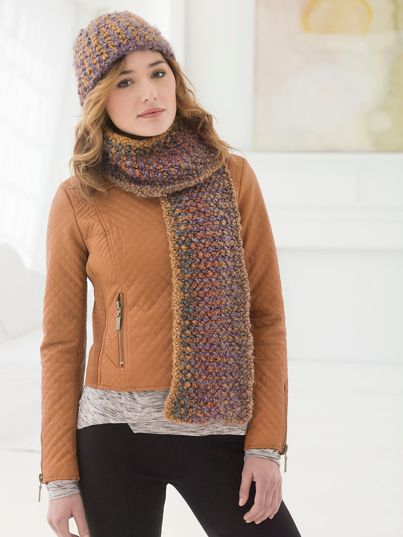 Tweedy Slip Stitch Hat And Scarf (Knit)