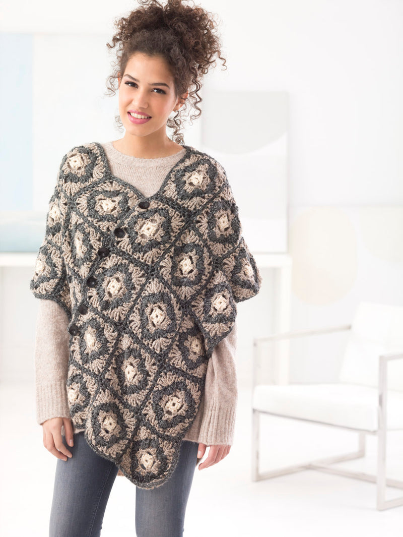 Buttoned Poncho (Crochet)