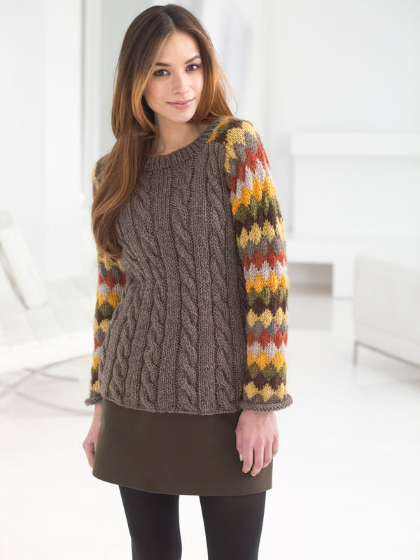 Striped And Cabled Pullover (Knit)