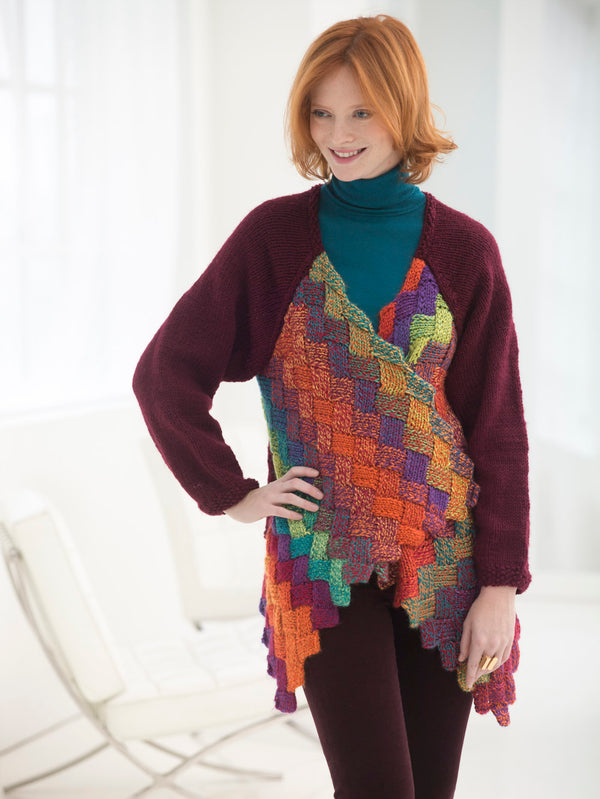 Eclectic Entrelac Cardigan (Knit)