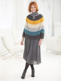Flattering Striped Poncho (Knit)
