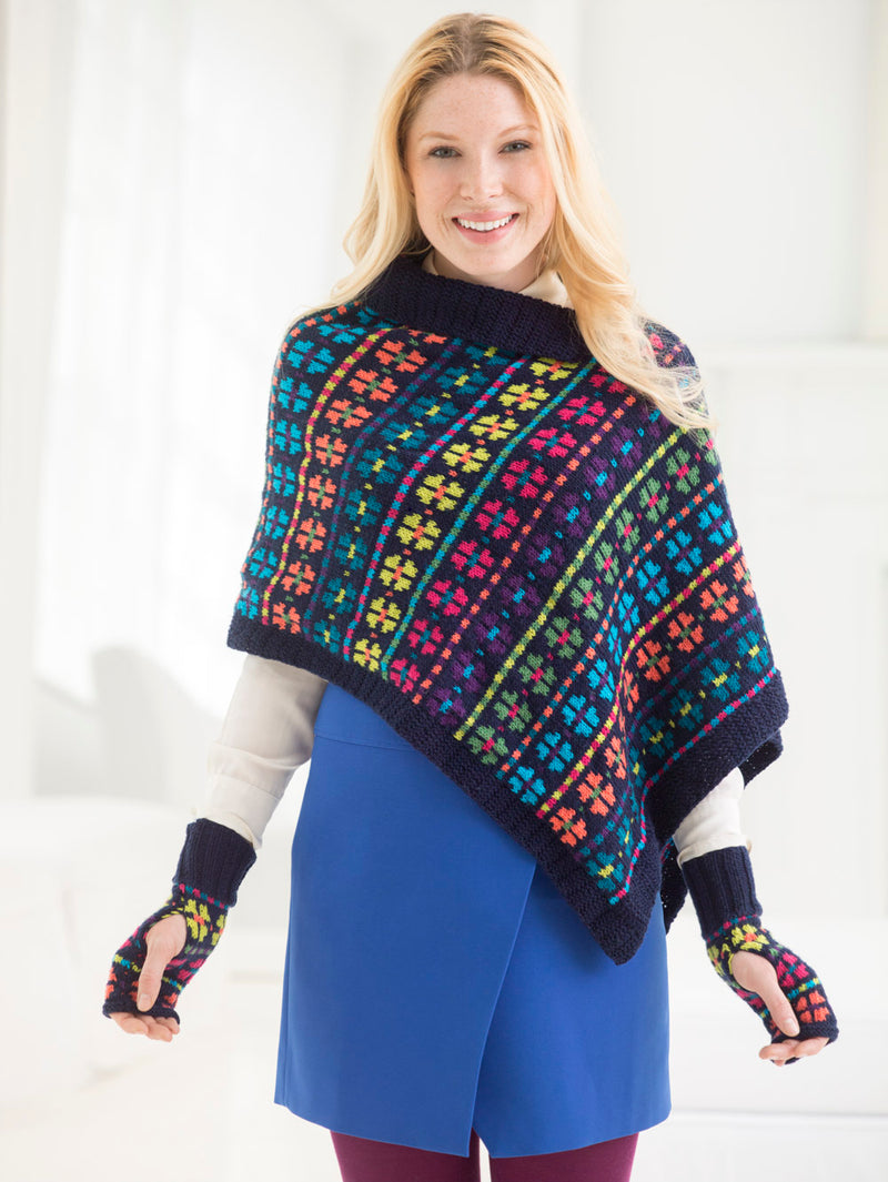 Updated Colorwork Poncho And Fingerless Gloves (Knit)