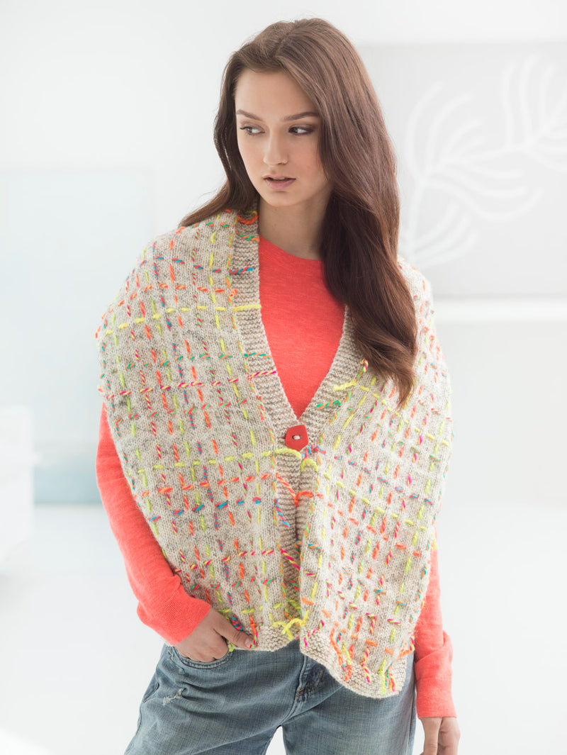 Rustic Embroidered Wrap (Knit)