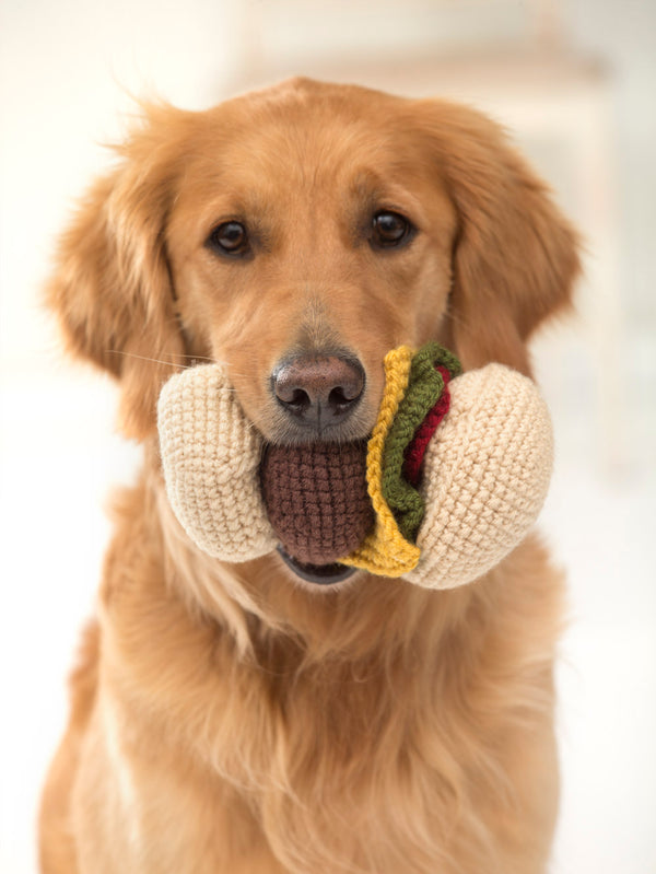 Red Hook Cheeseburger Dog Toy (Crochet)