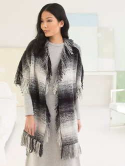 Graphic Fringed Poncho (Knit)