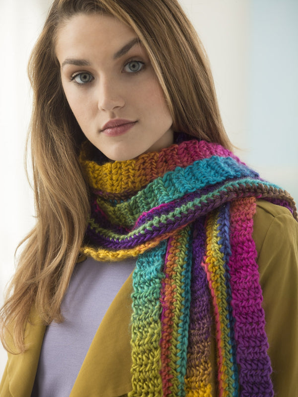 Rainbow Strip Scarf (Crochet)