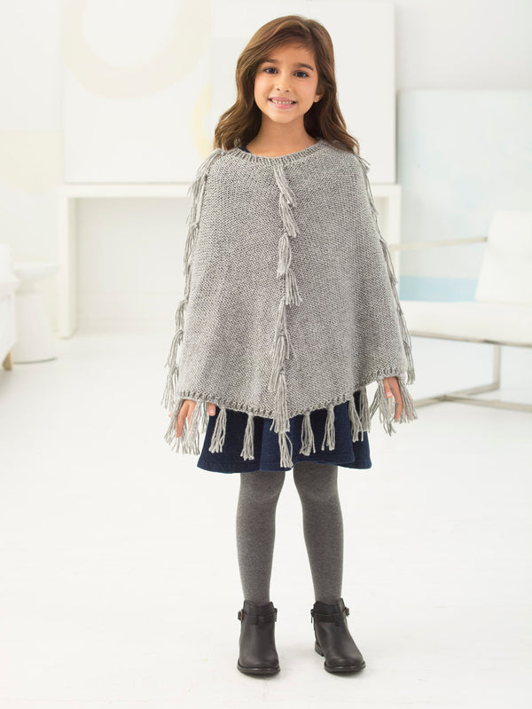 Girl's Fringed Poncho (Knit)