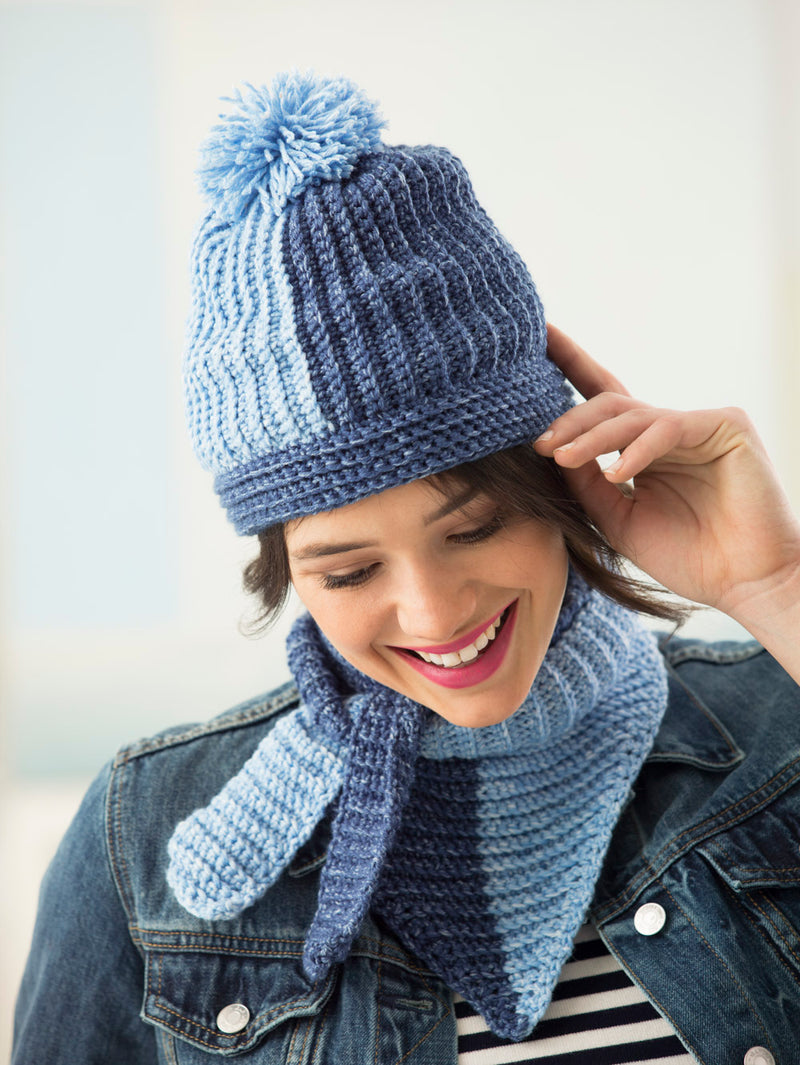 Two Color Hat And Tied Scarf (Crochet)