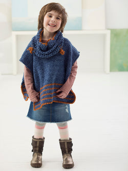 Girl's Poncho And Cowl (Crochet)