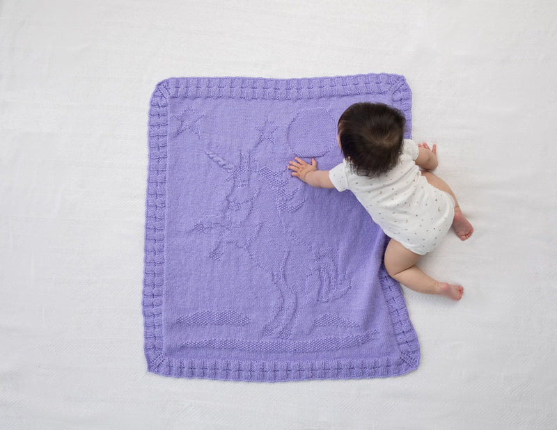 Happy Unicorn Baby Afghan (Knit)