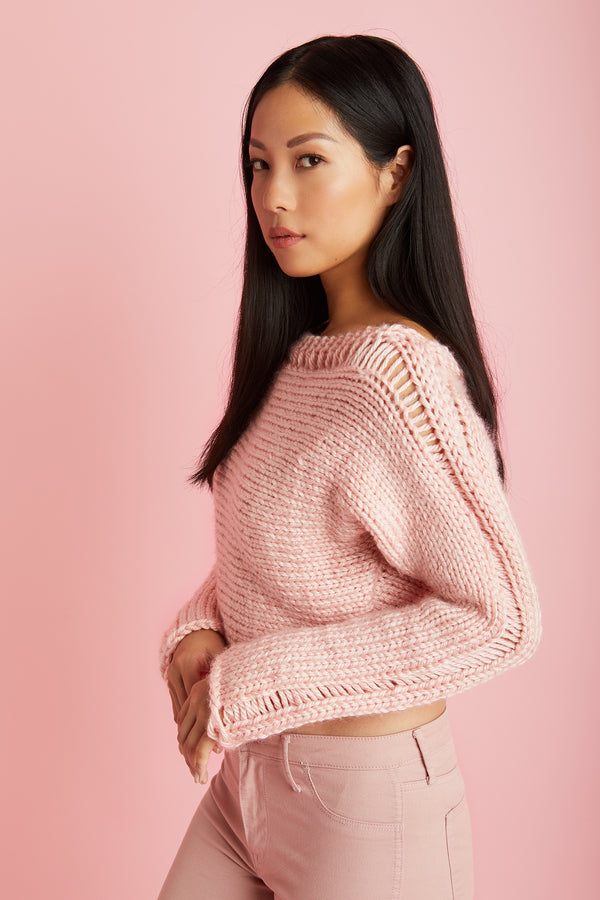 Cropped Drop Stitch Pullover (Knit)