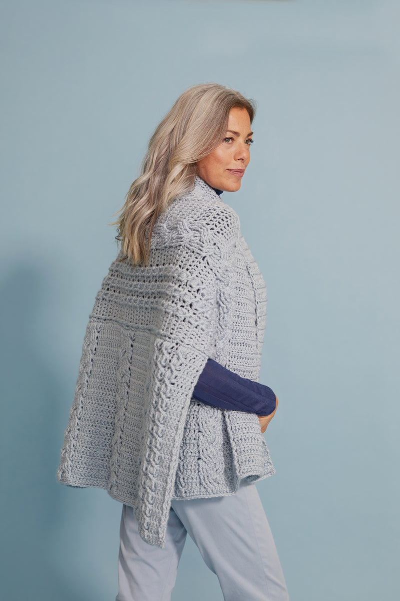 Evelina Cabled Wrap (Crochet)