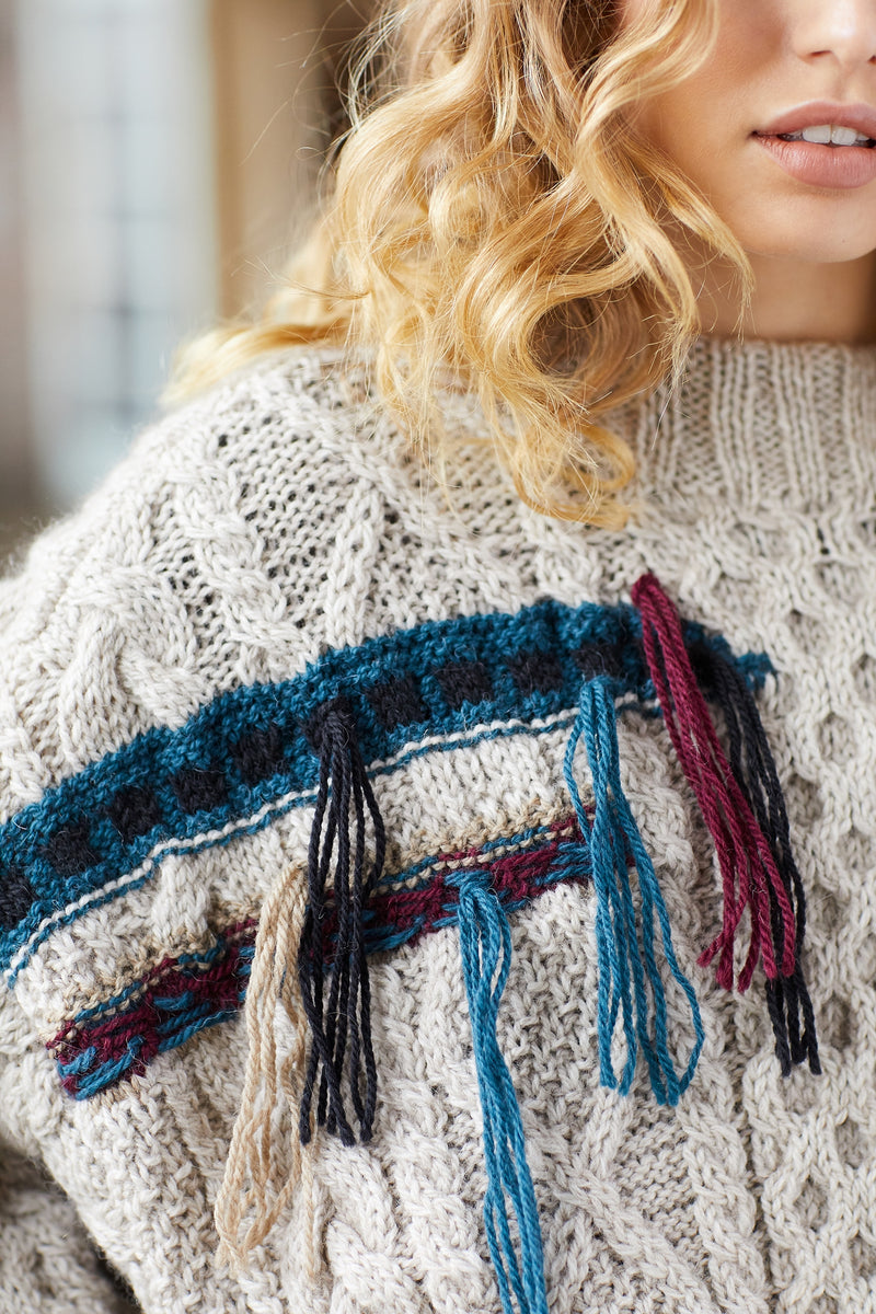 Fringed Cable Sweater (Knit)