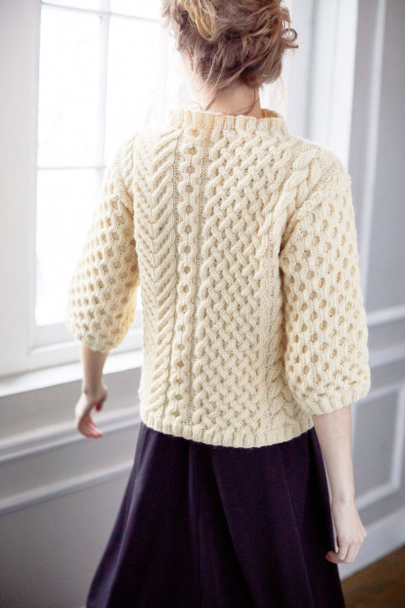 Funnel Neck Cable Sweater (Knit)