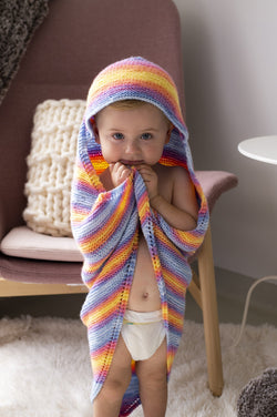 Rainbow Hooded Afghan (Knit)
