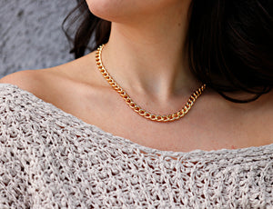 Gold Chunky Chain Necklace, 7.5mm Very Thick Gold Filled Chain Necklace, Cuban Chain Chunky Gold Necklace, Christmas Gift for Her