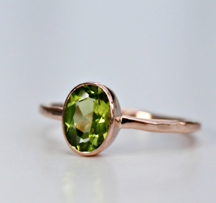14k Gold Peridot Ring
